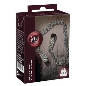 catena stringi capezzoli bondage fetish morsetti costrittivi nero in metallo