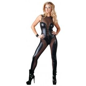 tuta sexy nera trasparente senza maniche effetto pelle lucida seducente donna