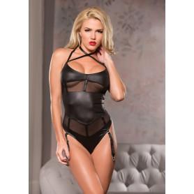 body intimo nero sensuale con giarrettiere a perizoma lucido trasparente black