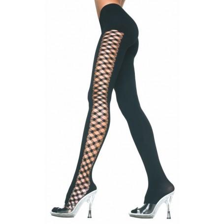 Collant Pantacollant music legs black opaco con lavorazione laterale