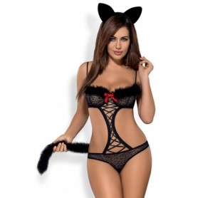 Body sexy hot intimo travestimento da gatto lingerie in pizzo a perizoma nero