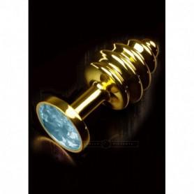 plug fallo anale gemma blu in acciaio gioiello gold butt anal sexy toys donna