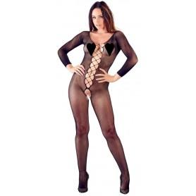 tutina sexy donna nera in microrete con aperture intime lingerie scollata black