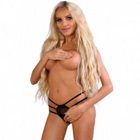 Slip in pizzo trasparente nero sexy hot string aperte intimo per donna mutande