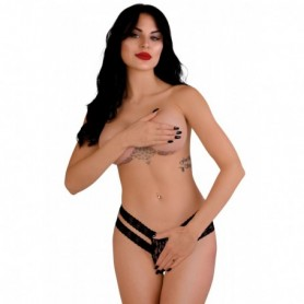 Tanga in pizzo nero sexy perizoma donna intimo aperto lingerie erotica mutanda