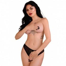 Mutanda donna in pizzo nero slip trasparente intimo aperto sexy lingerie eroticaless panty
