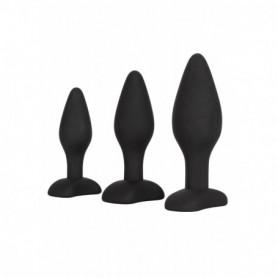 Fallo anale in silicone nero kit 3 pz indossabile stimolatore set anal butt plug