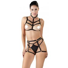 Completo intimo 3 pz BDSM Harness Set reggiseno slip