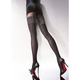 Collant calze donna edessa 40 den fiore effetto autoreggente