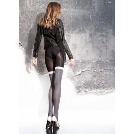 Collant calze donna Maloria 40 den fiore effetto autoreggente black white