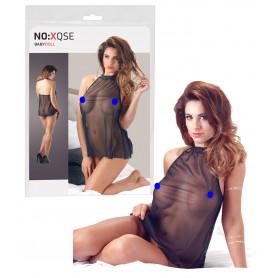 Mini abito donna nero trasparente sexy lingerie erotica babydoll intimo sensuale