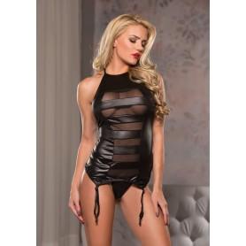 Intimo sexy corsetto nero con hot reggi calze halter neck corset