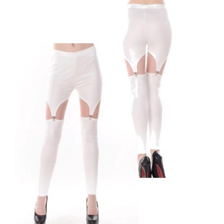 Leggins donna ragazza effetto reggicalze sexy pantaloni bianchi a vita alta hot